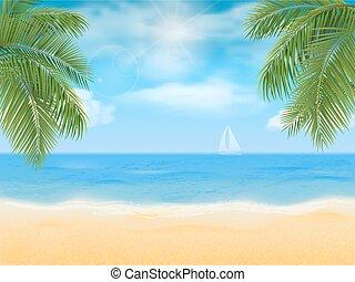 sea beach and palm tree - Sea beach and palm tree Vector...