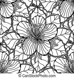 Monochrome Floral Background. - Vector Monochrome Floral...