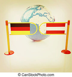 Three-dimensional image of the turnstile and flags of...