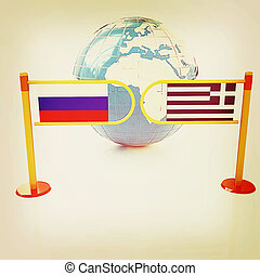 Three-dimensional image of the turnstile and flags of Russia...