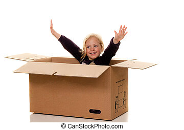 Child in cardboard box. If moving to box.