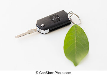 close up of car key and green leaf - conservation,...