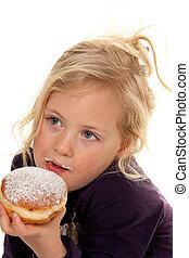 Children in carnival with donuts. Carnival Donut
