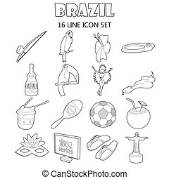 Brazil icons set, outline style - Outline Brazil icons set...
