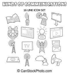 Communication icons set, outline ctyle - Outline...