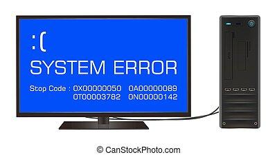 broken desktop computer error screen