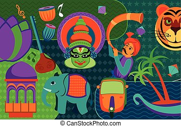 Collage displaying rich cultural heritage of India - vector...