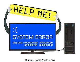 broken desktop computer error screen with help me banner