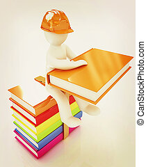 3d man in a hard hat with book sits on the colorful books . 3D illustration. Vintage style.