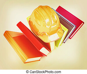 Colorful books and hard hat . 3D illustration. Vintage...