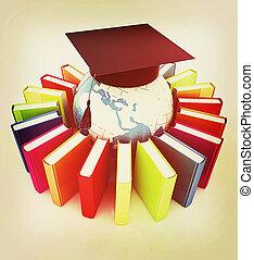 Global Education . 3D illustration. Vintage style. - Global...