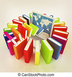 Colorful books flying and laptop 3D illustration Vintage...