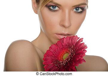 beau, chrysanthème, femme,  portrait