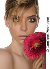 beautiful woman with red chrysanthemum