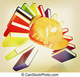 Colorful books like the rainbow and hard hat 3D illustration...