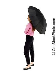 young business woman under an umbrella Rear view people...