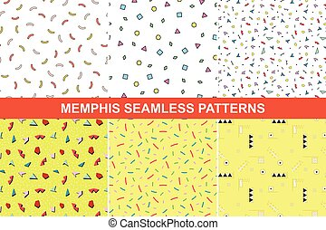 Set of memphis patterns. - Collection of abstract memphis...