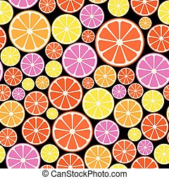 Seamless colorful pattern with citrus fruit.