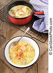 cullen skink, typical scottish food with smoked haddock,...