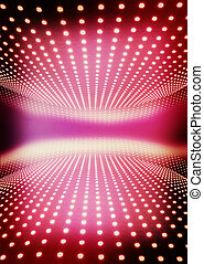 Light path to infinity on a pink. 3D illustration. Vintage style.