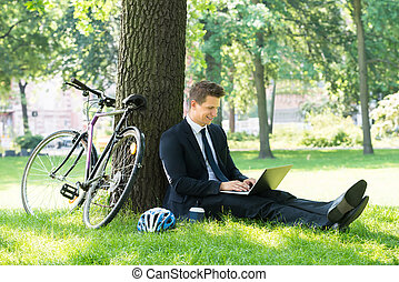 Businessman Using Laptop In Park - Smiling Young Male...