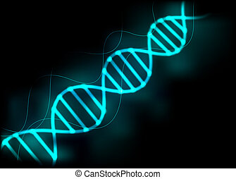 DNA strand background. - DNA sequence blue glow light...