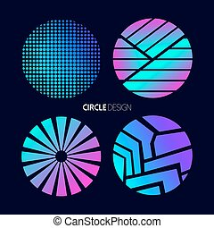 Circle design set with abstract geometry shapes