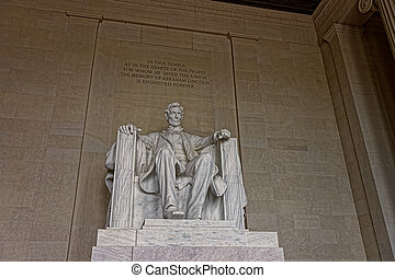 Monument of Abraham Lincoln in Washington DC US - Statue of...