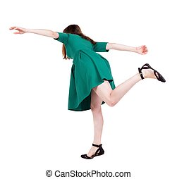 Balancing young woman or dodge falling - Balancing young...