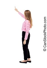 Back view of pointing business woman. - Back view of...