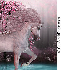 Cherry Blossom Unicorn - The Unicorn horse is a mythical...