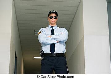 standing, entrata, sicurezza, guardia