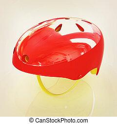 Bicycle helmet 3D illustration Vintage style - Bicycle...