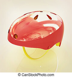 Bicycle helmet 3D illustration Vintage style - Bicycle...