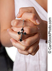 Praying hands with a girl cross praying hands girl Wed -...
