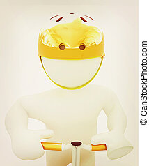 3d man in bicycle helmet . 3D illustration. Vintage style. -...