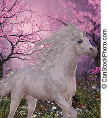 Unicorn Cherry Blossom Glen - A white Unicorn mare prances...