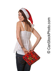 Pretty young woman with Christmas Package