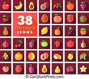 Set of Fruits and Berries icons Vector illustration, eps 10