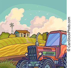Farm rural landscape with field and tractor Illustration...