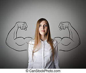 Strong woman concept. - Woman in white with sketched strong...