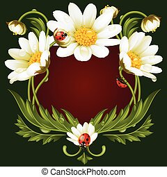 Vector frame with daisies in the shape of floral beast face...