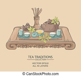 chinese tea ceremony - Tea table with teapot, tea pairs, tea...