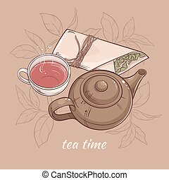 teapot with cup of tea - Illustration with cup of tea with...