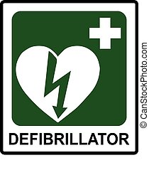Automated external heart defibrillator safe condition vector...