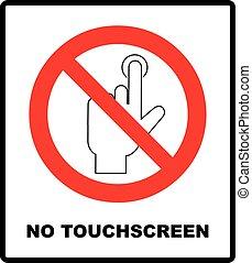 Do Not Touch, sticker. Vector warning banner no touchscreen,...