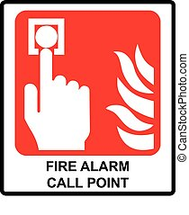 Fire alarm call point. Vector symbol. Emergency sign.