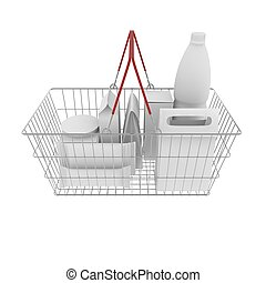 Metal basket with white empty boxes, packages and bottles of food and drinks. 3D illustration
