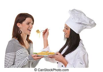 Chef, plato, probado, casero, aprendiz