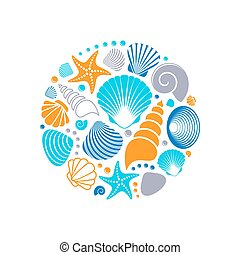 Colorful vector summer sea shells circle concept isolated
